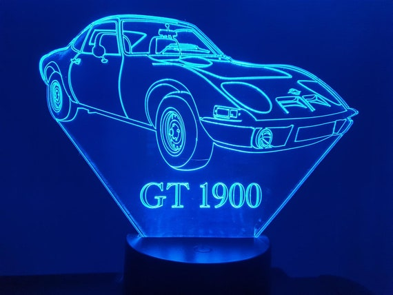 OPEL GT 1900 - Mood lamp 3D led, laser engraving on acrylic, usb cable or battery power.