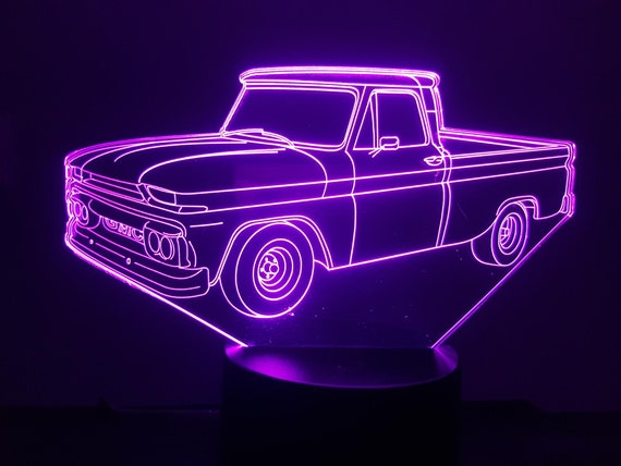 GMC pickup - mood lamp 3D led, laser engraving on acrylic, power by USB cable or batteries