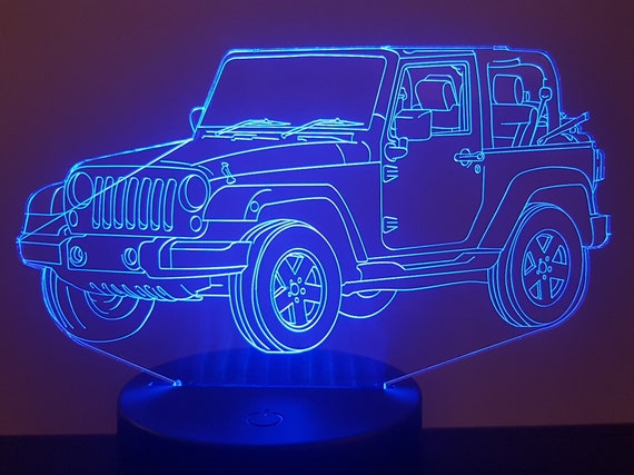 JEEP RENEGADE - Mood lamp 3D led, laser engraving on acrylic, usb cable or battery power.