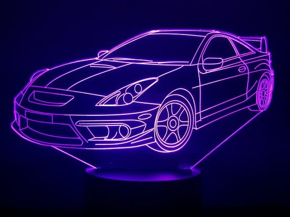 TOYOTA CELICA - Mood lamp 3D led, laser engraving on acrylic, power by USB cable or batteries