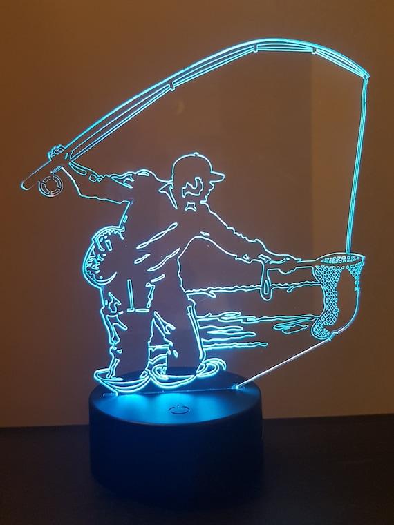 Lamp 3D pattern: fly fisherman