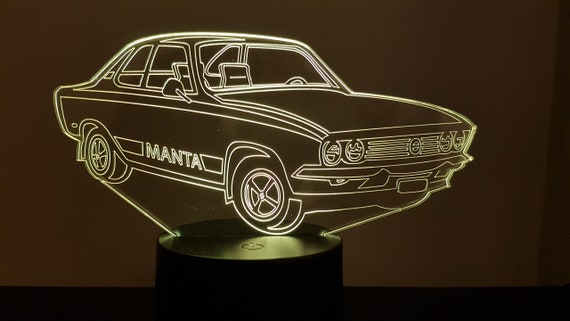 OPEL MANTA - Mood lamp 3D led, laser engraving on acrylic, power by USB cable or batteries