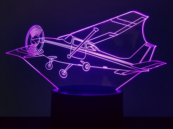 CESSNA plane - Mood lamp 3D led, laser engraving on acrylic, usb cable or battery power.