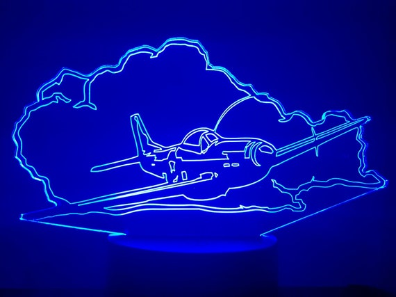 AIRPLANE P51 MUSTANG - Mood lamp 3D led, laser engraving on acrylic, power by USB cable or batteries
