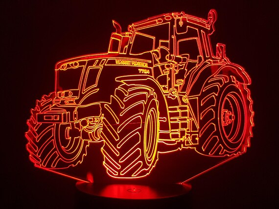 MASSEY Ferguson tractor - Mood lamp 3D led, laser engraving on acrylic, usb cable or battery power.