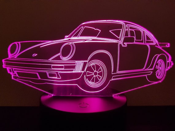 PORSCHE 911 - Mood lamp 3D led, laser engraving on acrylic, power by USB cable or batteries