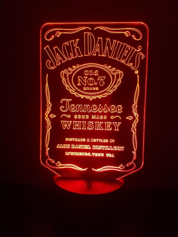 JACK DANIEL's S - mood lamp 3D led, laser engraving on acrylic, usb cable or battery power.