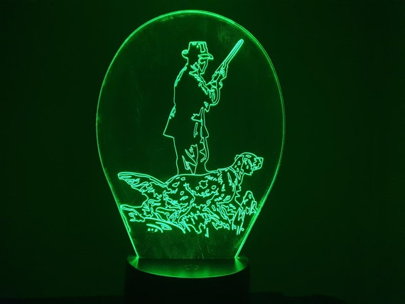 CHASSEUR and his dog - 3D LED mood lamp, laser engraving on acrylic, battery power or USB cable