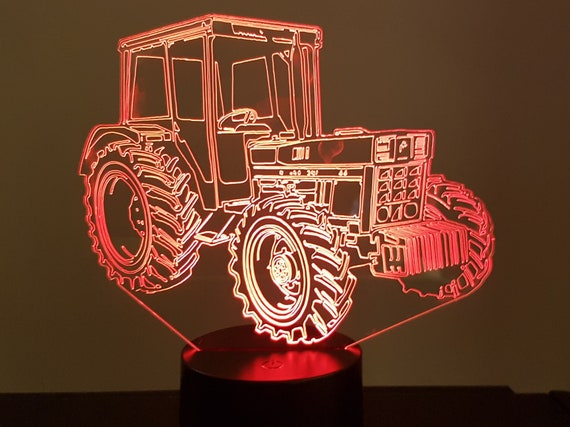 TRACTOR IH (international harvester) - a lamp 3D led, laser engraving on acrylic, power by USB cable or batteries