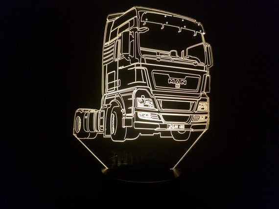 MAN truck - Mood lamp 3D led, laser engraving on acrylic, power by USB cable or batteries