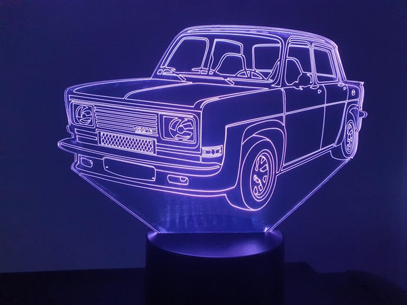 SIMCA 1000 Rally 3-led 3D ambient lamp, laser engraving on acrylic, battery power or USB cable