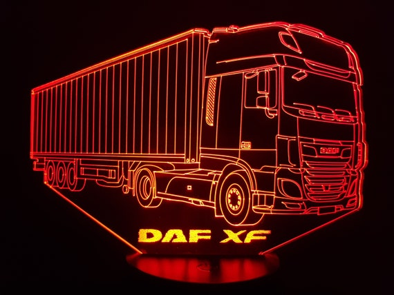 TRUCK DAF XF - Mood lamp 3D led, laser engraving on acrylic, usb cable or battery power.