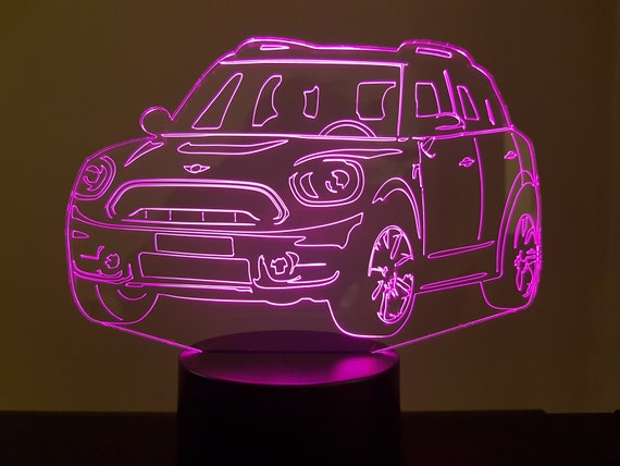 AUSTIN MINI COUNTRYMAN - Mood lamp 3D led, laser engraving on acrylic, usb cable or battery power.