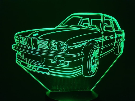BMW E30 ALPINA-led 3D ambient lamp, laser engraving on acrylic, battery power or USB cable.