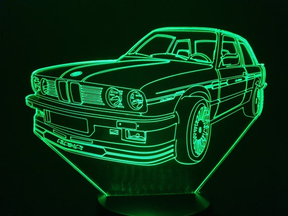 BMVV E30 ALPINA - 3D LED ambient lamp, laser engraving on acrylic, battery power or USB cable.