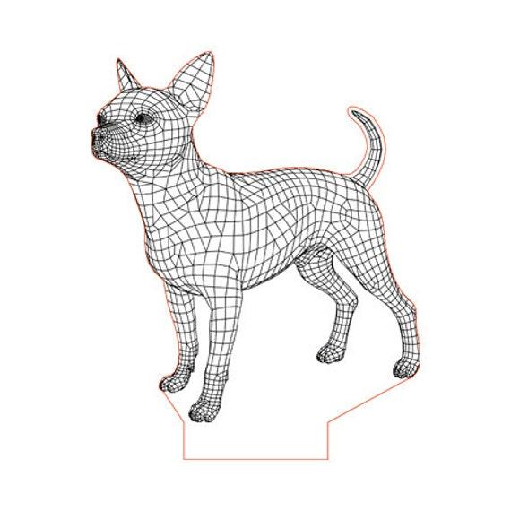 Lamp 3D pattern: Chihuahua dog