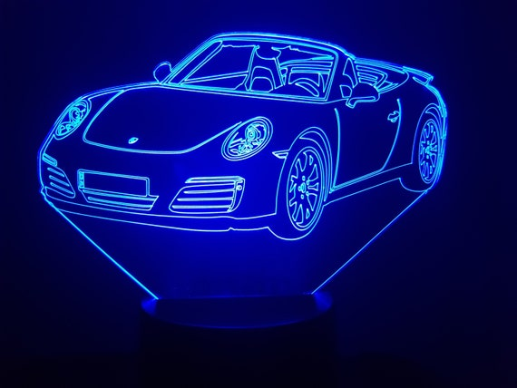 PORSCHE 911 S carrera convertible - mood lamp 3D led, laser engraving on acrylic, power by USB cable or batteries