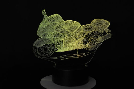 Suzuki Hayabusa 1300 GSXR compatible design - 3D LED ambient lamp, acrylic laser engraving, battery power or USB cable.