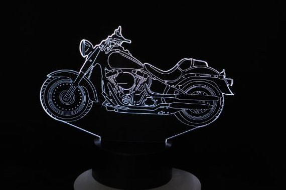 Moto HD HARLEY DAVIDSON Fat Boy- 3D LED mood lamp, laser engraving on acrylic, battery power or USB cable.