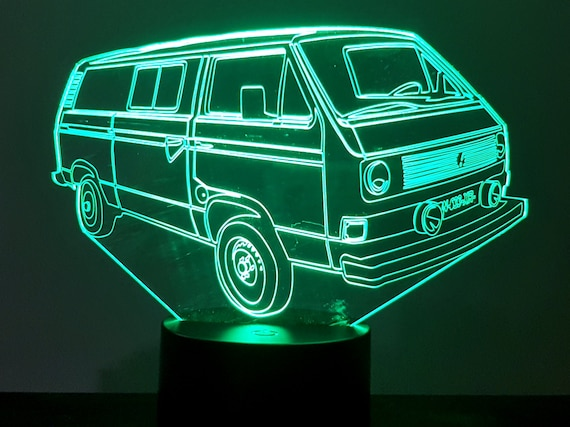 VOLKSWAGEN VW T3 carrier - mood lamp 3D led, laser engraving on acrylic, power by USB cable or batteries