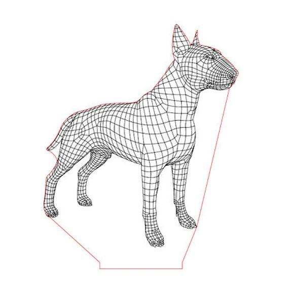 Lamp 3D pattern: Bull terrier dog