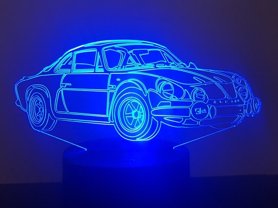 RENAULT Alpine A110 Berlinette - lamp 3D led, laser engraving on acrylic, power by USB cable or batteries