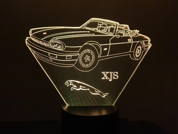 JAGUAR XJS (convertible) - mood lamp 3D led, laser engraving on acrylic, usb cable or battery power.