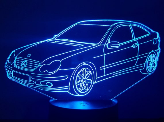 MERCEDES CL 203 - Mood lamp 3D led, laser engraving on acrylic, usb cable or battery power.