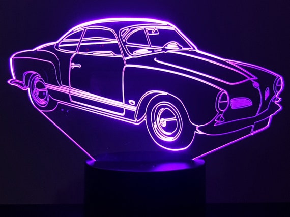 VOLKSWAGEN KARMANN GHIA type 14 - mood lamp 3D led, laser engraving on acrylic, usb cable or battery power.