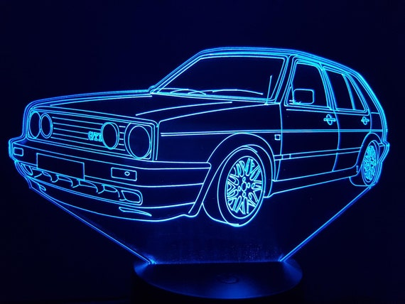 VOLKSWAGEN VW MK2 GOLF - Mood lamp 3D led, laser engraving on acrylic, usb cable or battery power.