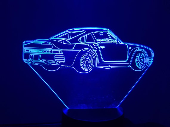 PORSCHE 959 - Mood lamp 3D led, laser engraving on acrylic, power by USB cable or batteries