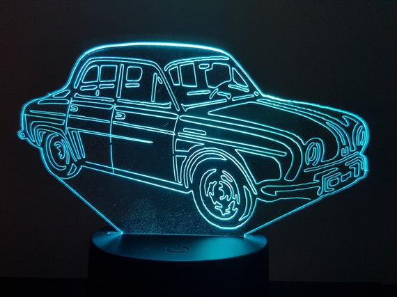 RENAULT DAUPHINE - Mood lamp 3D led, laser engraving on acrylic, power by USB cable or batteries