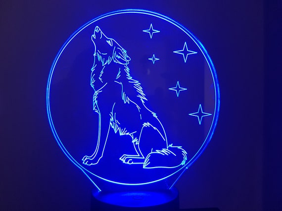 Wolf - Mood lamp 3D led, laser engraving on acrylic, usb cable or battery power.