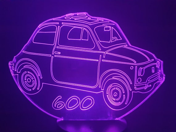 FIAT 600-3D LED ambient lamp, laser engraving on acrylic, battery power or USB cable