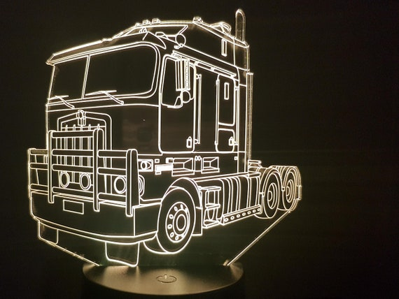 KENWORTH truck - Mood lamp 3D led, laser engraving on acrylic, power by USB cable or batteries