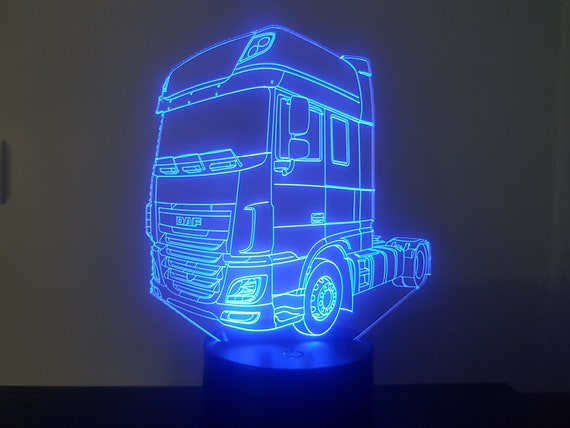 DAF truck - Mood lamp 3D led, laser engraving on acrylic, power by USB cable or batteries