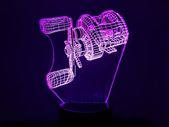 Fishing reel 2 - mood lamp 3D led, laser engraving on acrylic, power by USB cable or batteries