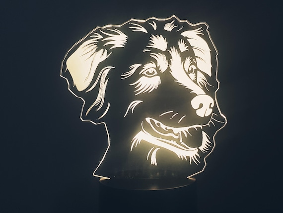 Australian Shepherd Dog - Mood lamp 3D led, laser engraving on acrylic, power by usb cable or batteries