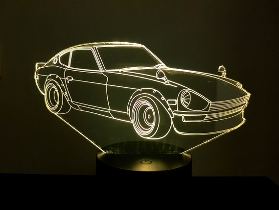 DATSUN 240Z - mood lamp 3D led, laser engraving on acrylic, power by USB cable or batteries