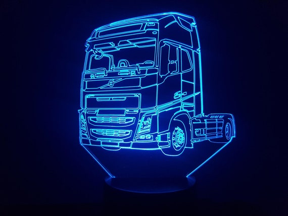 VOLVO truck - Mood lamp 3D led, laser engraving on acrylic, power by USB cable or batteries