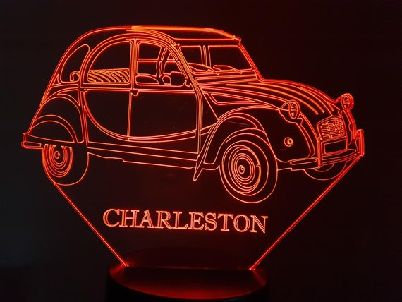 CITROËN 2CV CHARLESTON-led 3D ambient lamp, laser engraving on acrylic, battery power or USB cable