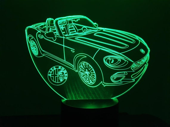 ALFA ROMEO Spider 124 - Mood lamp 3D led laser engraving on acrylic, usb cable or battery power.
