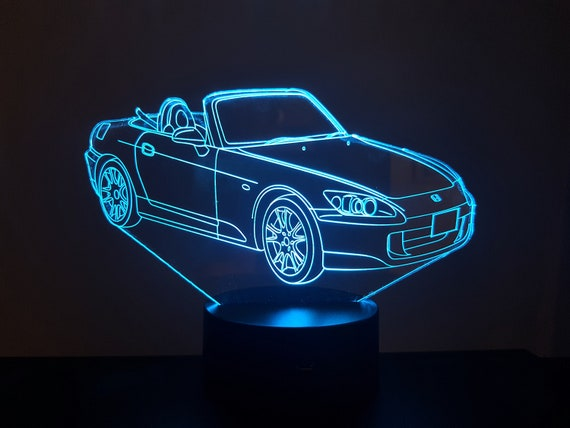 HONDA S2000 - Mood lamp 3D led, laser engraving on acrylic, power by USB cable or batteries