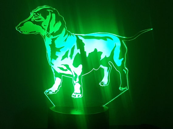Dachshund dog - Mood lamp 3D led, laser engraving on acrylic, power by usb cable or batteries
