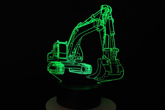 BACKHOE - Mood lamp 3D led, laser engraving on acrylic, usb cable or battery power.