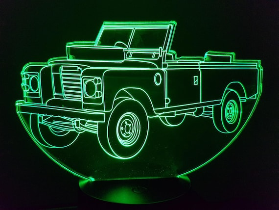 LAND ROVER SANTANA 109 - Mood lamp 3D led, laser engraving on acrylic, usb cable or battery power.