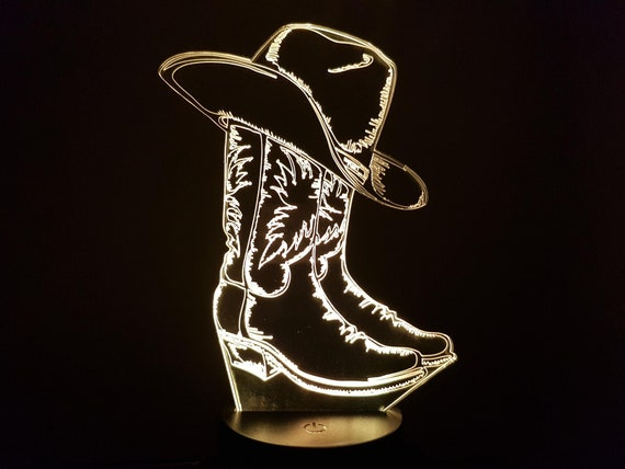 COUNTRY COWBOY - Mood lamp 3D led, laser engraving on acrylic, usb cable or battery power.