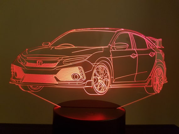HONDA CIVIC type R - mood lamp 3D led, laser engraving on acrylic, power by USB cable or batteries