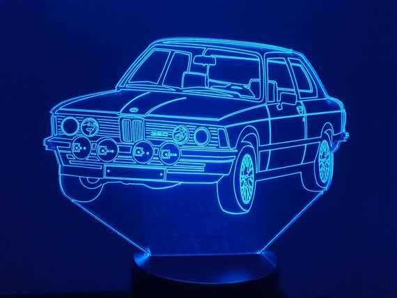 BMW 320 - Mood lamp 3D led, laser engraving on acrylic, power by USB cable or batteries