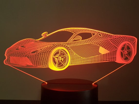 FERRARI FERRARI - mood lamp 3D led, laser engraving on acrylic, usb cable or battery power.